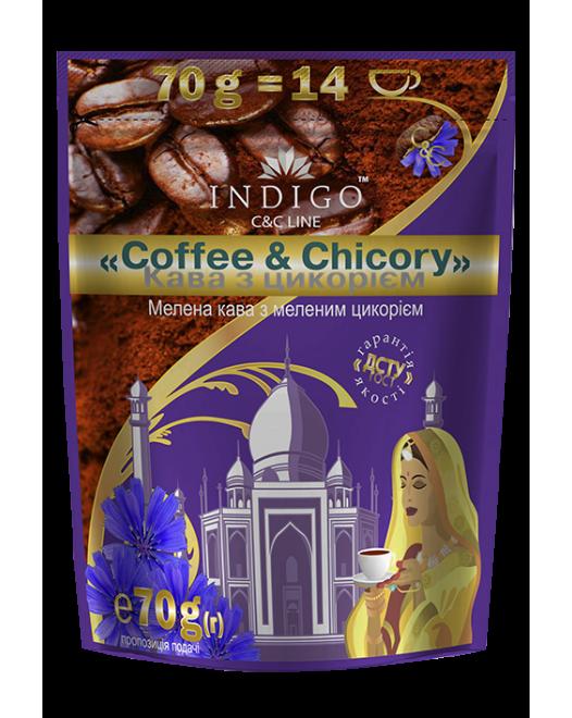 Кофе жареный молотый с цикорием жареным молотым ТМ INDIGO 70г