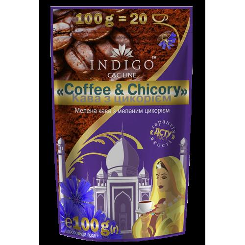 Кофе жареный молотый с добавлением цикория жареного молотого ТМ INDIGO 100г